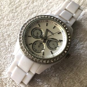 Fossil women's watch: White ceramic with gems